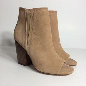 Women's Beige Suede Open Toe Heels Boots
